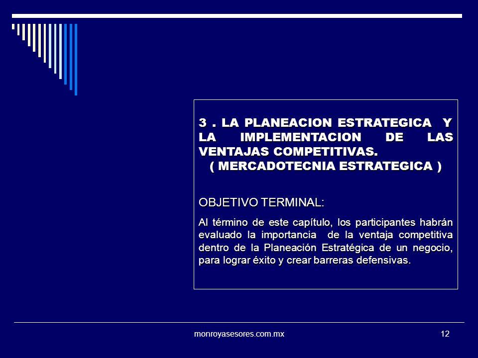 monroyasesores.com.mx12 3. LA PLANEACION ESTRATEGICA Y LA IMPLEMENTACION DE LAS VENTAJAS COMPETITIVAS. ( MERCADOTECNIA ESTRATEGICA ) OBJETIVO TERMINAL