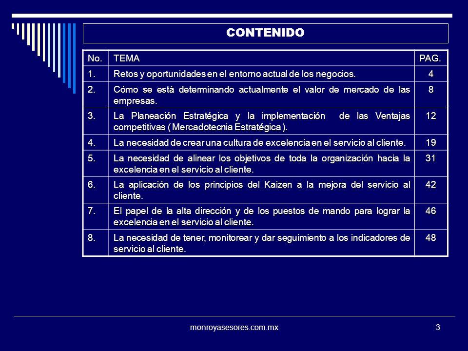 monroyasesores.com.mx14 LA NOCION DE CALIDAD CALIDAD EN EL DISEÑO CARACTERISTICAS O ESPECIFICACIONES DE LAS QUE SE DOTA AL PRODUCTO O SERVICIO, DERIVADAS DEL ESTUDIO DE LAS NECESIDADES Y EXPECTATIVAS DEL MERCADO, A FIN DE SATISFACER TOTALMENTE AL CLIENTE.