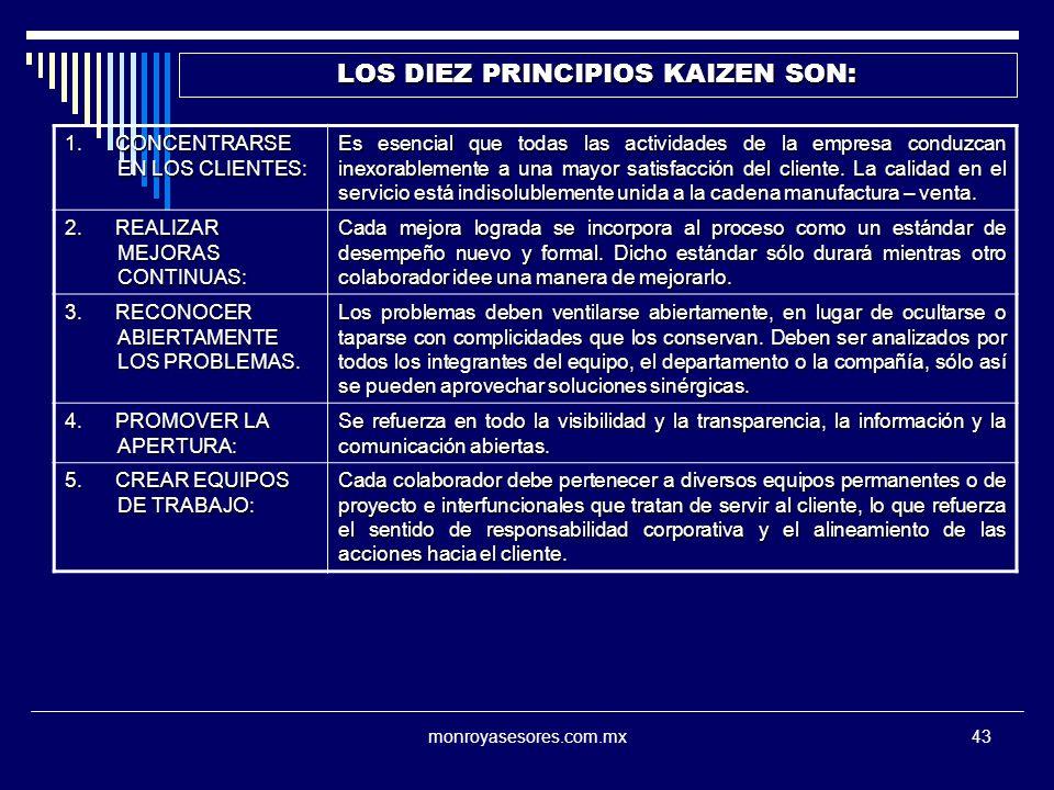 monroyasesores.com.mx43 LOS DIEZ PRINCIPIOS KAIZEN SON: 1. CONCENTRARSE EN LOS CLIENTES: Es esencial que todas las actividades de la empresa conduzcan