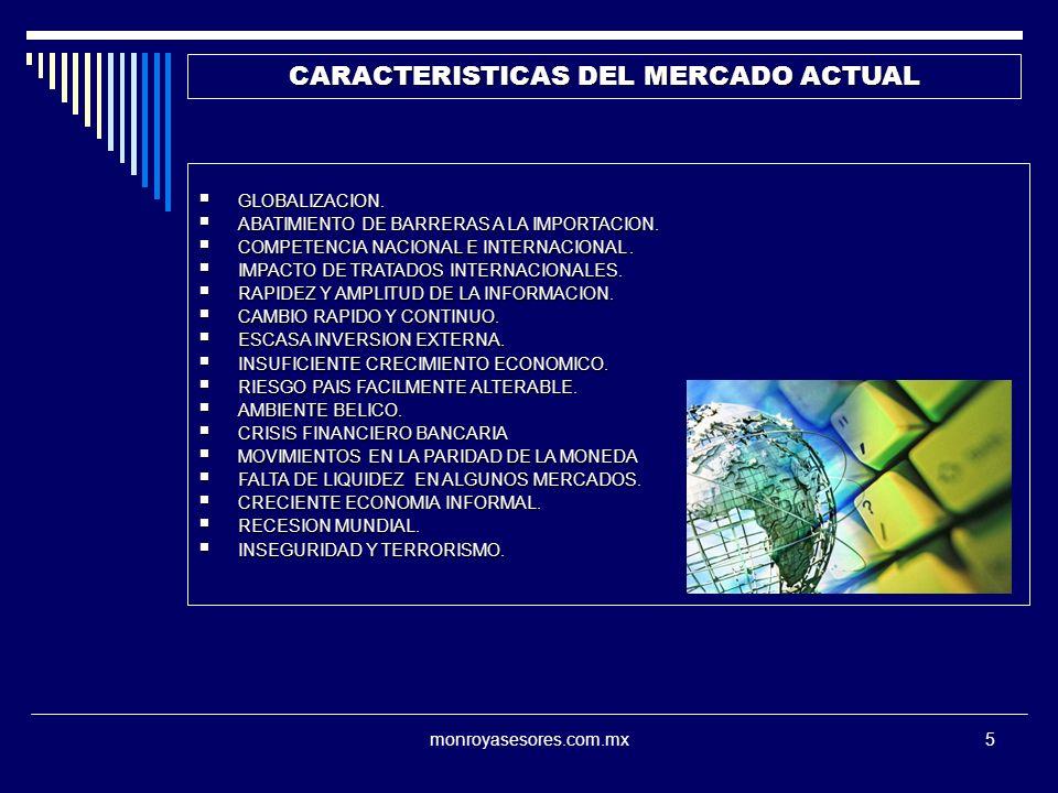 monroyasesores.com.mx5 CARACTERISTICAS DEL MERCADO ACTUAL GLOBALIZACION. GLOBALIZACION. ABATIMIENTO DE BARRERAS A LA IMPORTACION. ABATIMIENTO DE BARRE