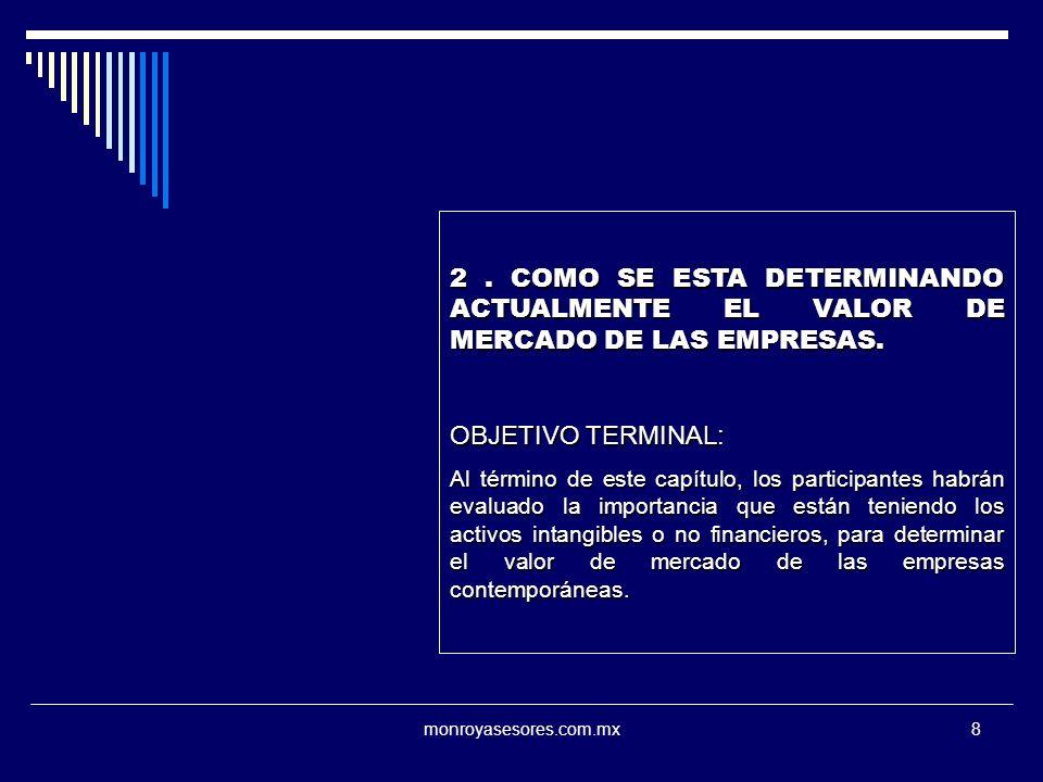 monroyasesores.com.mx8 2. COMO SE ESTA DETERMINANDO ACTUALMENTE EL VALOR DE MERCADO DE LAS EMPRESAS. OBJETIVO TERMINAL: Al término de este capítulo, l