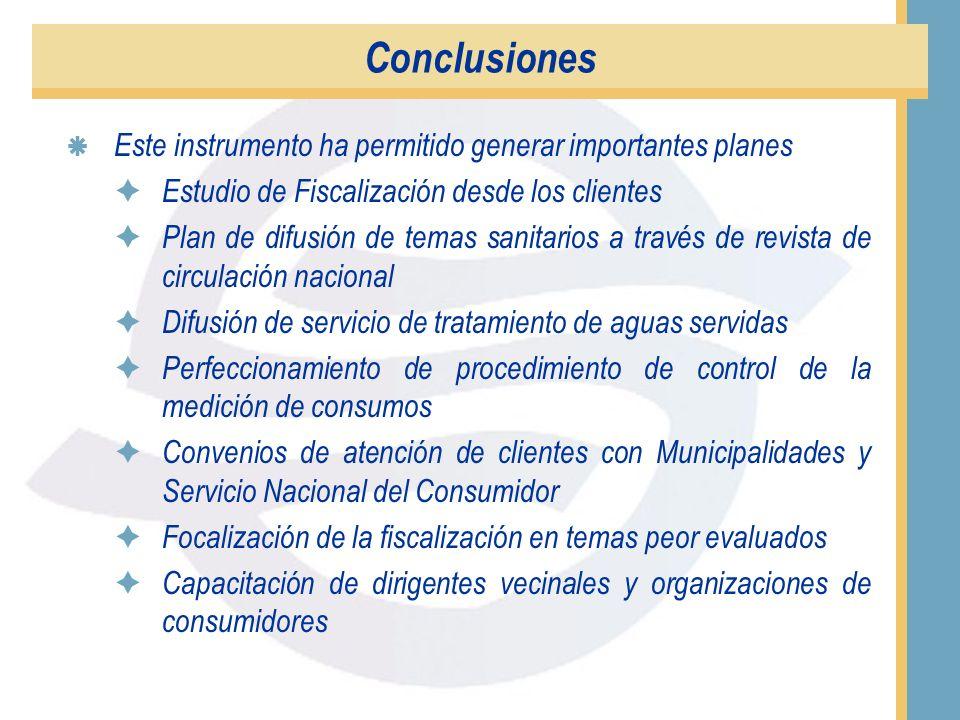 Conclusiones Los aspectos mejor evaluados son: La atención telefónica y la calidad del agua. Los aspectos peor evaluados son: El valor de la cuenta, l