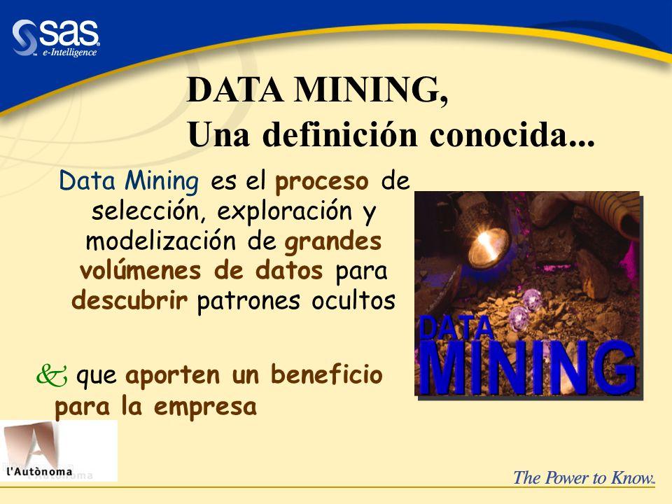 Data Mining es el proceso de selección, exploración y modelización de grandes volúmenes de datos para descubrir patrones ocultos k que aporten un bene