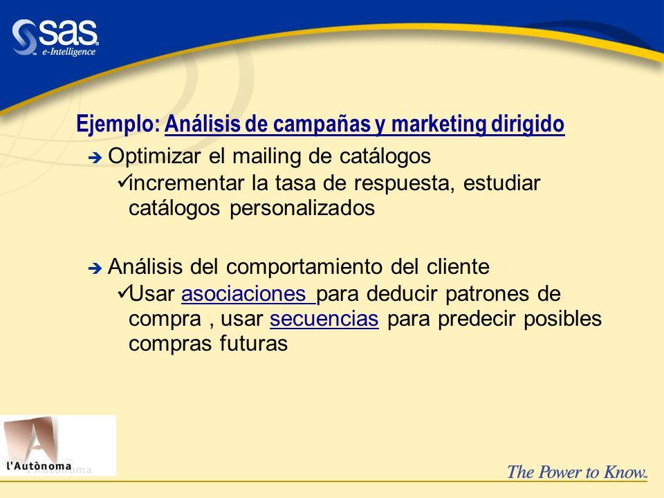 Ejemplo: Análisis de campañas y marketing dirigido è Optimizar el mailing de catálogos üincrementar la tasa de respuesta, estudiar catálogos personali