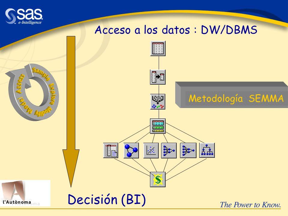 Acceso a los datos : DW/DBMS Decisión (BI) Metodología SEMMA