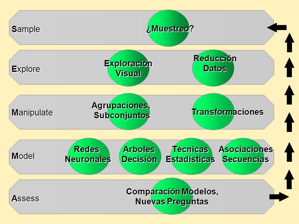 ¿Muestreo?ExploraciónVisual ReducciónDatos Agrupaciones,Subconjuntos Transformaciones Redes Neuronales NeuronalesArbolesDecisiónTécnicasEstadísticasAs