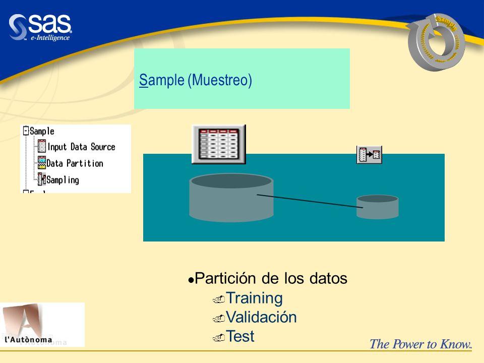 Sample (Muestreo) Partición de los datos. Training. Validación. Test