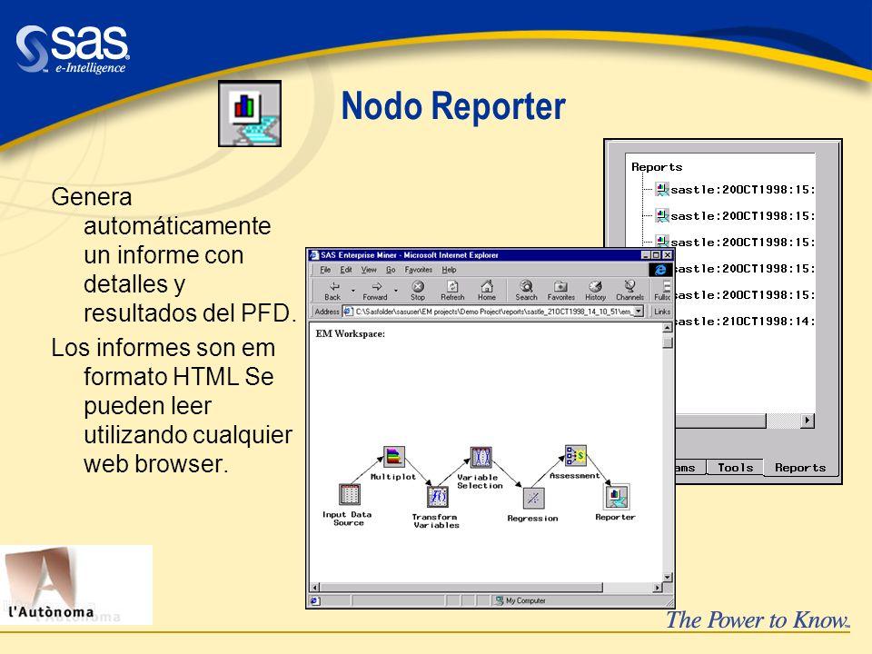 Nodo Reporter Genera automáticamente un informe con detalles y resultados del PFD. Los informes son em formato HTML Se pueden leer utilizando cualquie