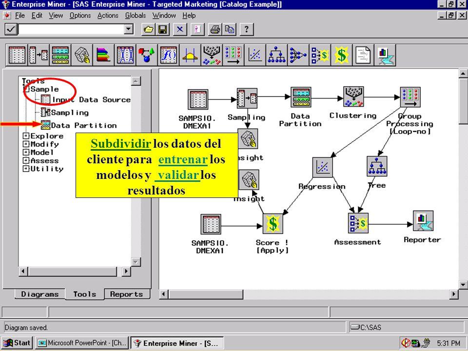 Subdividir los datos del cliente para entrenar los modelos y validar los resultados