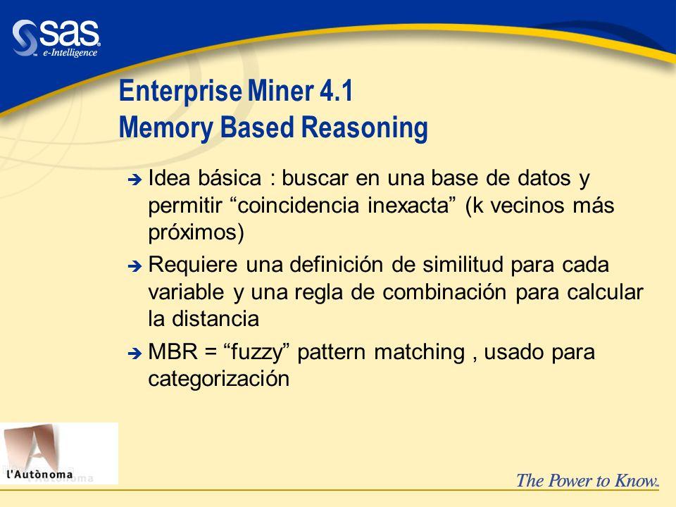 Enterprise Miner 4.1 Memory Based Reasoning è Idea básica : buscar en una base de datos y permitir coincidencia inexacta (k vecinos más próximos) è Re