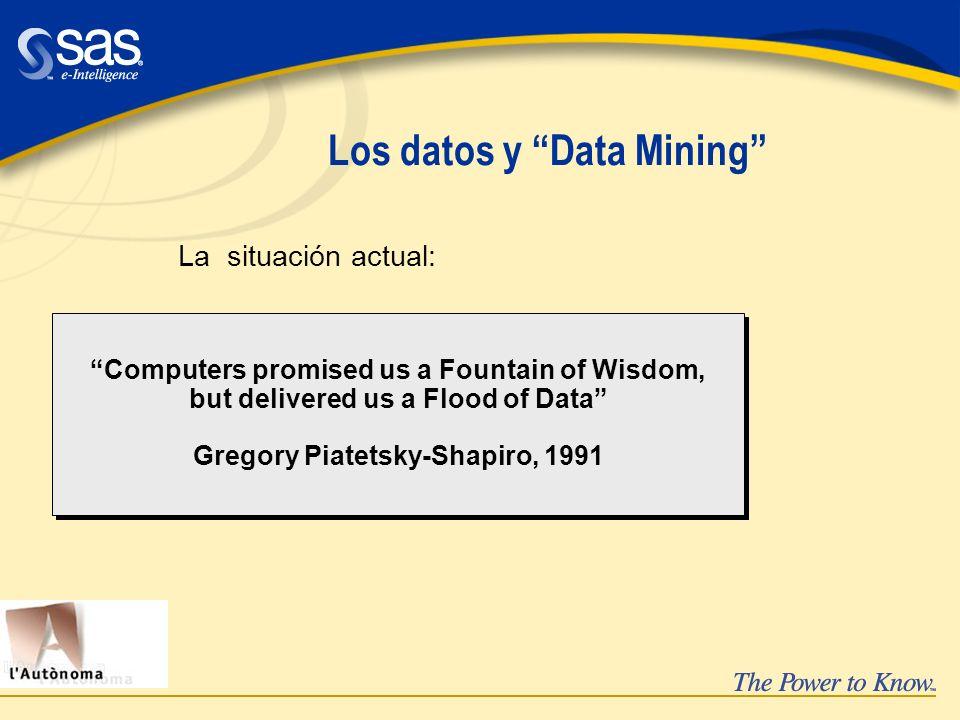 Enterprise Miner para texto üText Mining: Descubrir y utilizar el conocimiento que existe en una colección de documentos üPermite la entrada de texto, el proceso, la clasificación & generación de clusters üPuede gestionar gran número de documentos Conocimiento