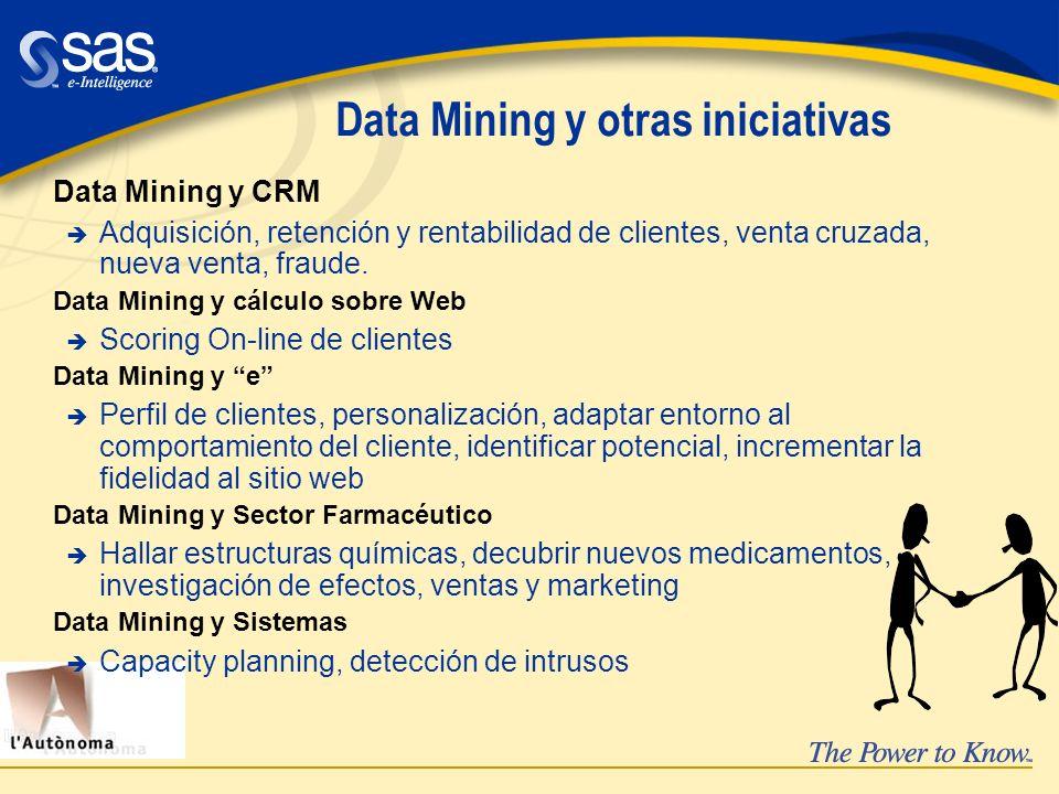 Data Mining y otras iniciativas Data Mining y CRM è Adquisición, retención y rentabilidad de clientes, venta cruzada, nueva venta, fraude. Data Mining