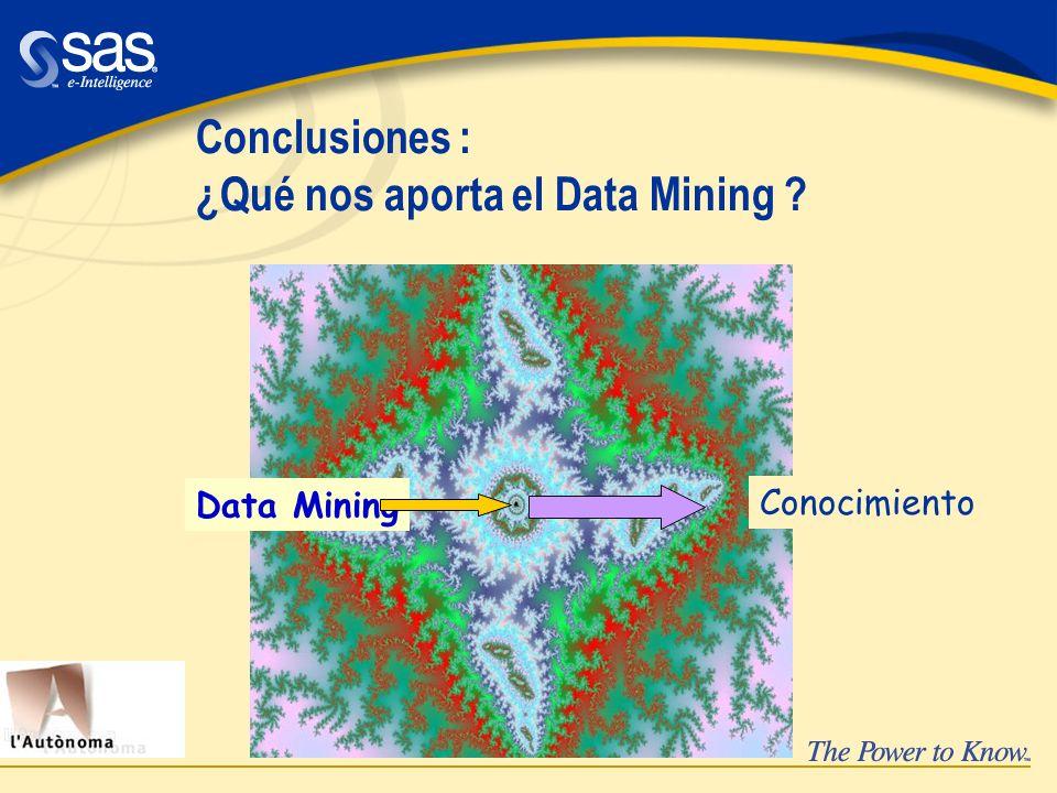 Conclusiones : ¿Qué nos aporta el Data Mining ? Data Mining Conocimiento