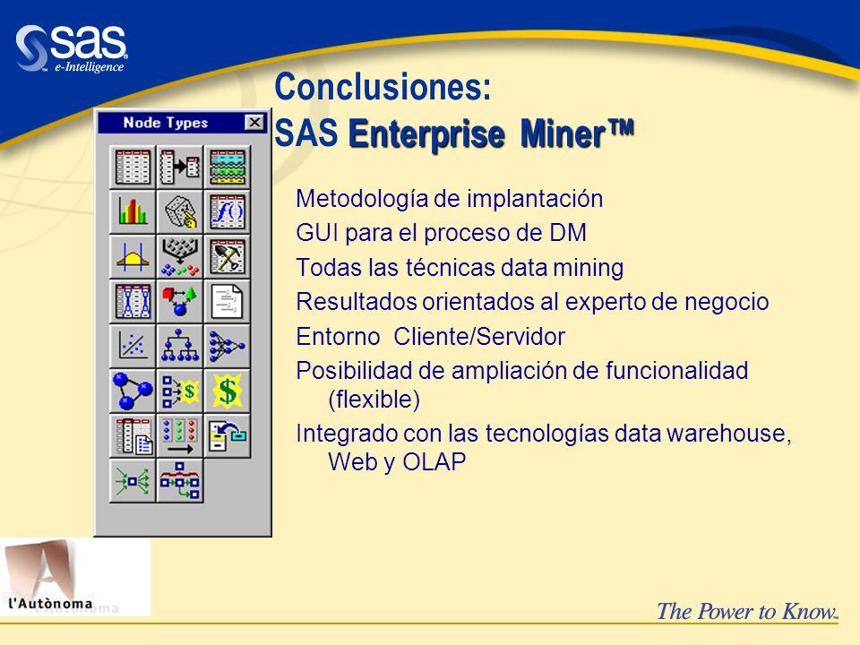 Enterprise Miner Conclusiones: SAS Enterprise Miner Metodología de implantación GUI para el proceso de DM Todas las técnicas data mining Resultados or