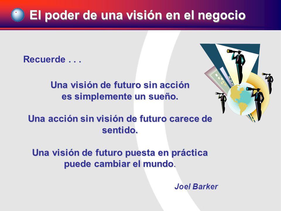 Recuerde... Una visión de futuro sin acción es simplemente un sueño. Una acción sin visión de futuro carece de sentido. Una visión de futuro puesta en