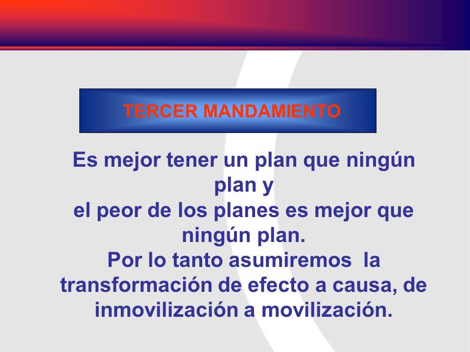 Es mejor tener un plan que ningún plan y el peor de los planes es mejor que ningún plan. Por lo tanto asumiremos la transformación de efecto a causa,