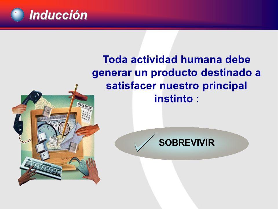 Inducción Toda actividad humana debe generar un producto destinado a satisfacer nuestro principal instinto : SOBREVIVIR