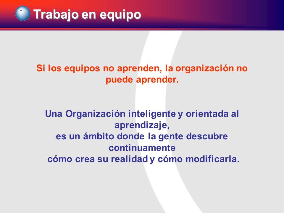 Si los equipos no aprenden, la organización no puede aprender. Una Organización inteligente y orientada al aprendizaje, es un ámbito donde la gente de