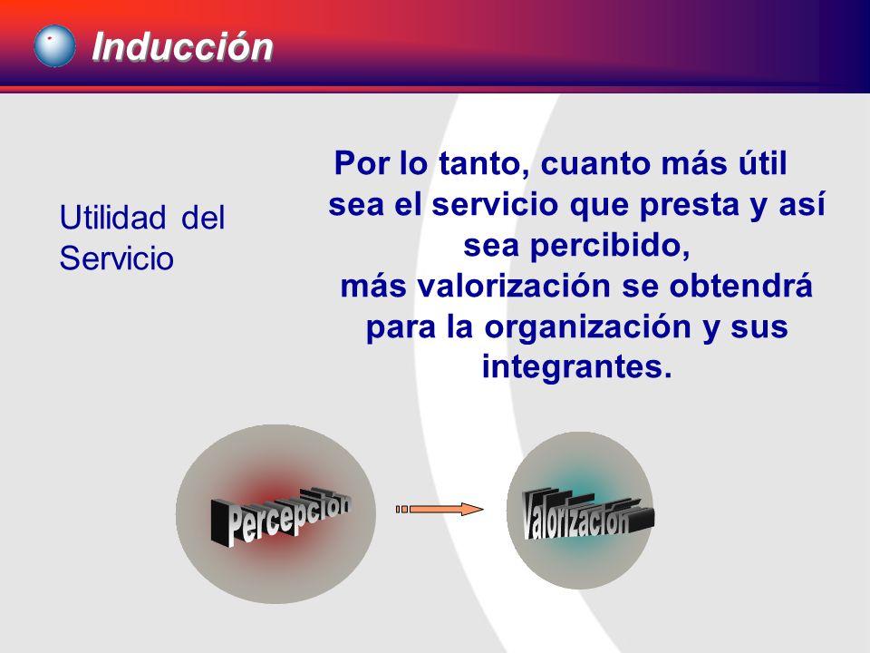 Por lo tanto, cuanto más útil sea el servicio que presta y así sea percibido, más valorización se obtendrá para la organización y sus integrantes. Ind