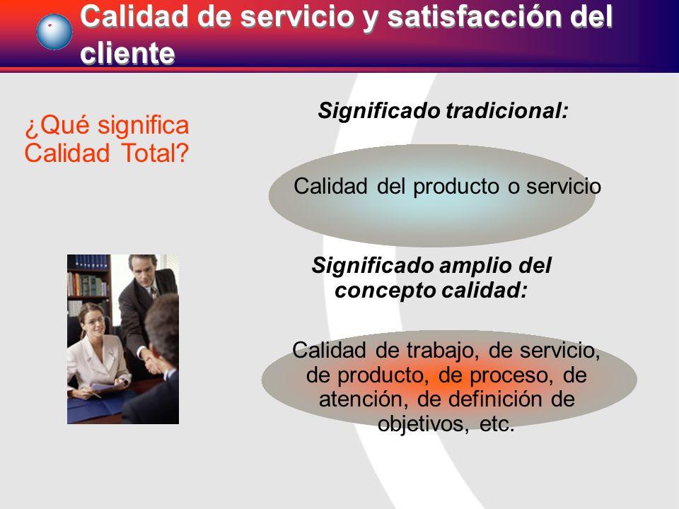 Calidad del producto o servicio ¿Qué significa Calidad Total? Significado tradicional: Significado amplio del concepto calidad: Calidad de trabajo, de