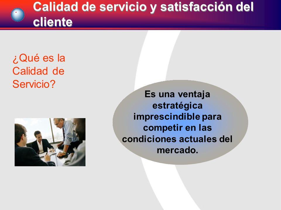 ¿Qué es la Calidad de Servicio? Es una ventaja estratégica imprescindible para competir en las condiciones actuales del mercado. Calidad de servicio y