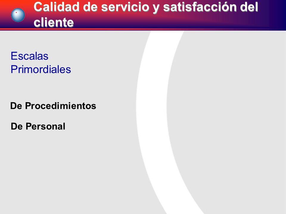 Escalas Primordiales De Procedimientos De Personal Calidad de servicio y satisfacción del cliente