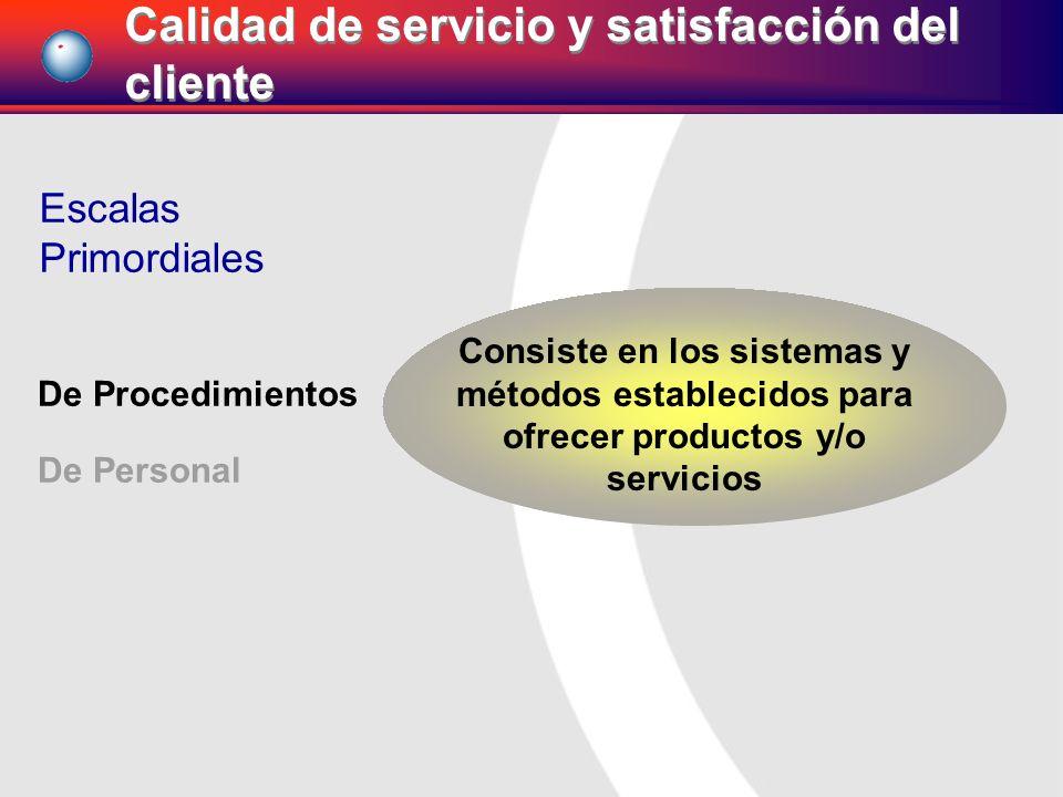 De Procedimientos De Personal Escalas Primordiales Consiste en los sistemas y métodos establecidos para ofrecer productos y/o servicios Calidad de ser