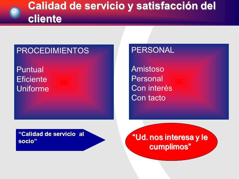 PROCEDIMIENTOS Puntual Eficiente Uniforme PERSONAL Amistoso Personal Con interés Con tacto Ud. nos interesa y le cumplimos Calidad de servicio al soci