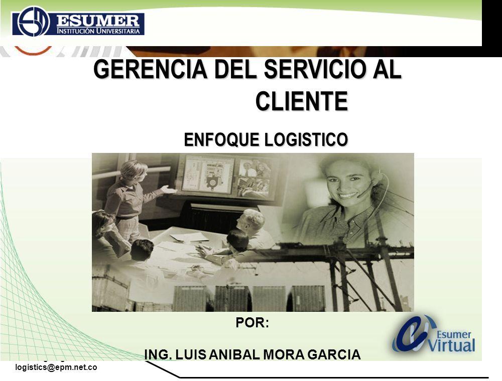 www.highlogistics.com logistics@epm.net.co ELEMENTOS DEL SERVICIO LOGÍSTICO A CLIENTES PRETRANSACCIÓN POLITICA EMPLEADO - FLEXIBILIDAD - - ENTREGAS MINIMAS - ESTRUCTURA ORGANIZACIONAL - PLAZOS DE ENTREGA TRANSACCIÓN DISTRIBUCIÓN FÍSICA - DISPONIBILIDAD - PORCENTAJE CUMPLIMIENTO - - ESTADO DEL PEDIDO - - MODIFICACIÓN PEDIDO POSTRANSACCIÓN APOYO AL PRODUCTO - FACTURACIÓN - RESPUESTA QUEJAS - DEVOLUCIONES /AVERÍA - CARTERA