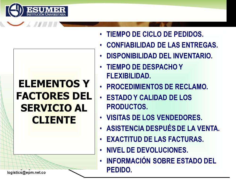 www.highlogistics.com logistics@epm.net.co ELEMENTOS Y FACTORES DEL SERVICIO AL CLIENTE TIEMPO DE CICLO DE PEDIDOS. CONFIABILIDAD DE LAS ENTREGAS. DIS