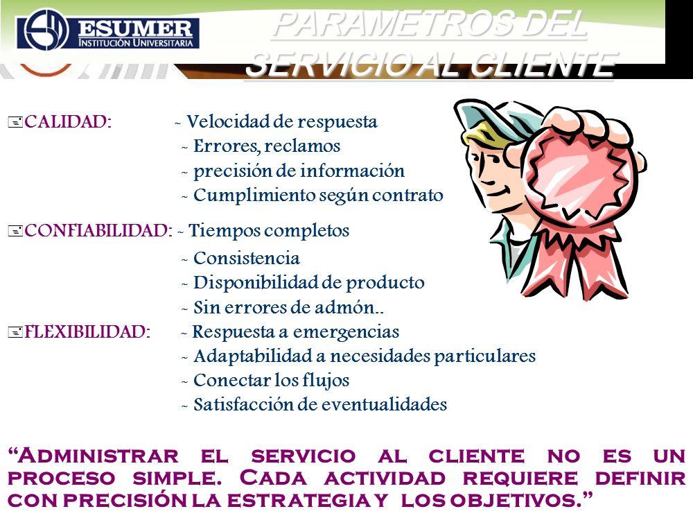 www.highlogistics.com logistics@epm.net.co PARAMETROS DEL SERVICIO AL CLIENTE + CALIDAD: - Velocidad de respuesta - Errores, reclamos - precisión de i