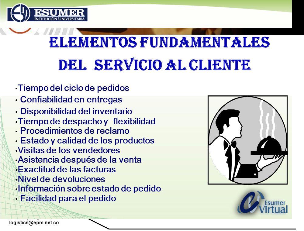 www.highlogistics.com logistics@epm.net.co ELEMENTOS FUNDAMENTALES DEL SERVICIO AL CLIENTE Tiempo del ciclo de pedidos Confiabilidad en entregas Dispo