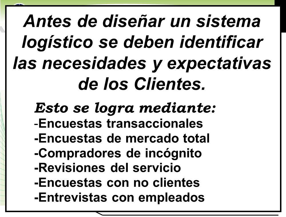 www.highlogistics.com logistics@epm.net.co Antes de diseñar un sistema logístico se deben identificar las necesidades y expectativas de los Clientes.