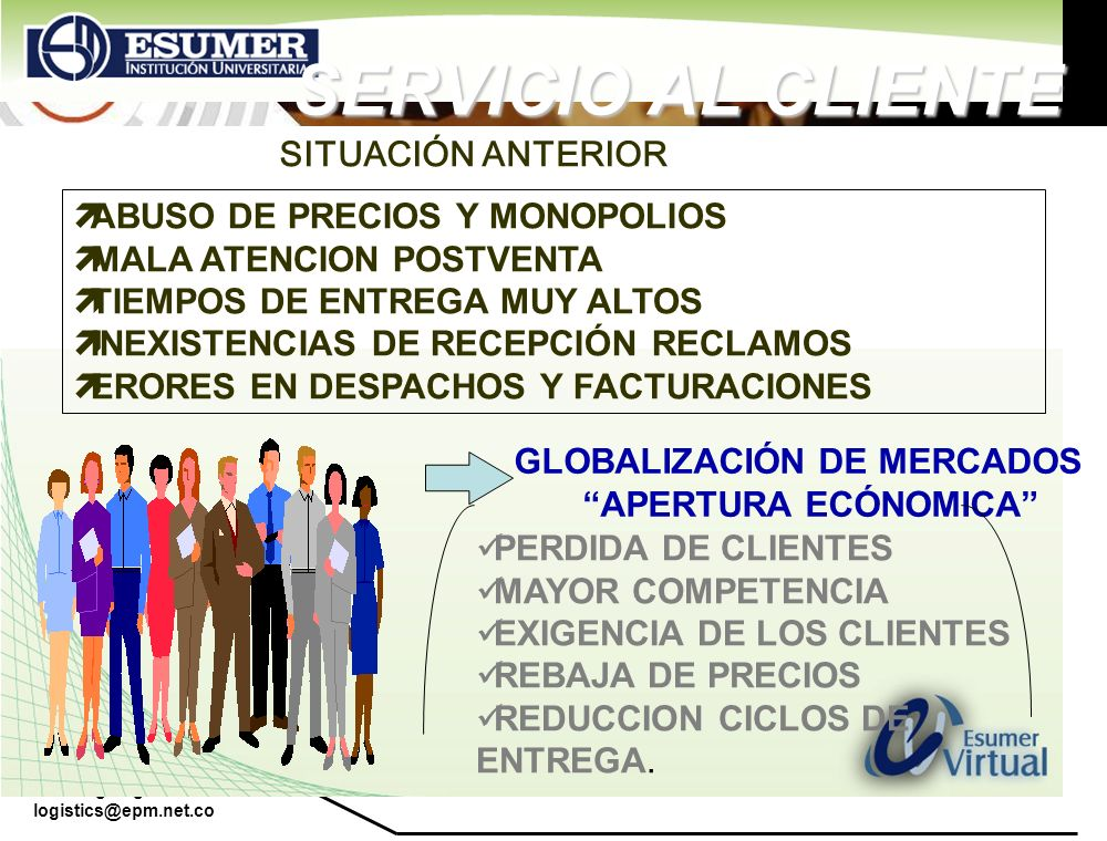 www.highlogistics.com logistics@epm.net.co SERVICIO AL CLIENTE SITUACIÓN ANTERIOR ABUSO DE PRECIOS Y MONOPOLIOS MALA ATENCION POSTVENTA TIEMPOS DE ENT