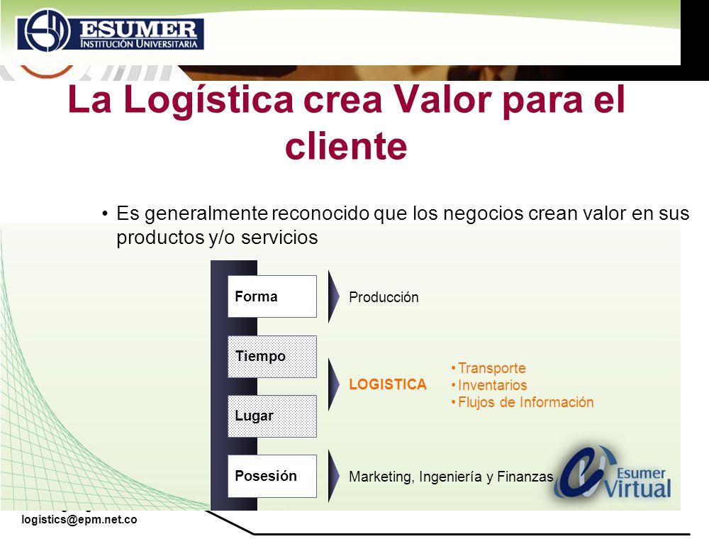 www.highlogistics.com logistics@epm.net.co La Logística crea Valor para el cliente Forma Tiempo Lugar Posesión Es generalmente reconocido que los nego
