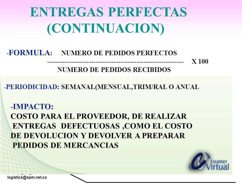 www.highlogistics.com logistics@epm.net.co - FORMULA : NUMERO DE PEDIDOS PERFECTOS ------------------------------------------------------------- X 100