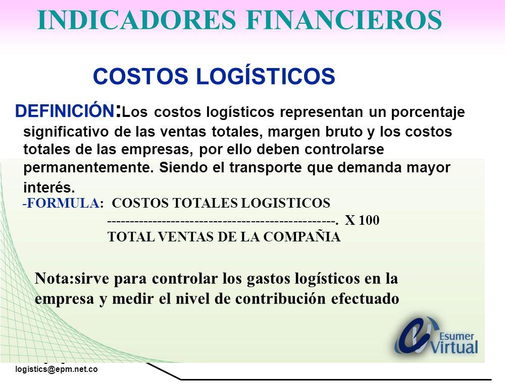 www.highlogistics.com logistics@epm.net.co COSTOS LOGÍSTICOS DEFINICIÓN : Los costos logísticos representan un porcentaje significativo de las ventas