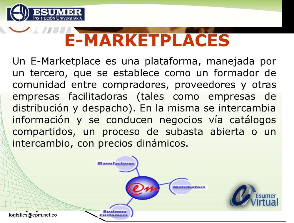 www.highlogistics.com logistics@epm.net.co Un E-Marketplace es una plataforma, manejada por un tercero, que se establece como un formador de comunidad