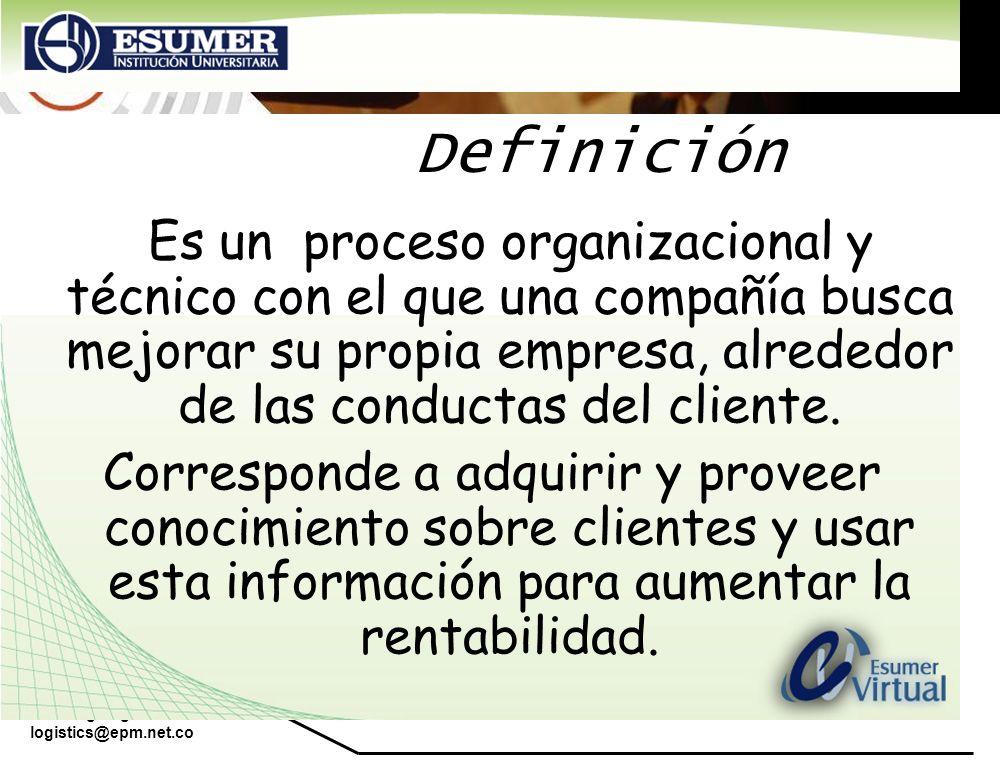 Es un proceso organizacional y técnico con el que una compañía busca mejorar su propia empresa, alrededor de las conductas del cliente. Corresponde a
