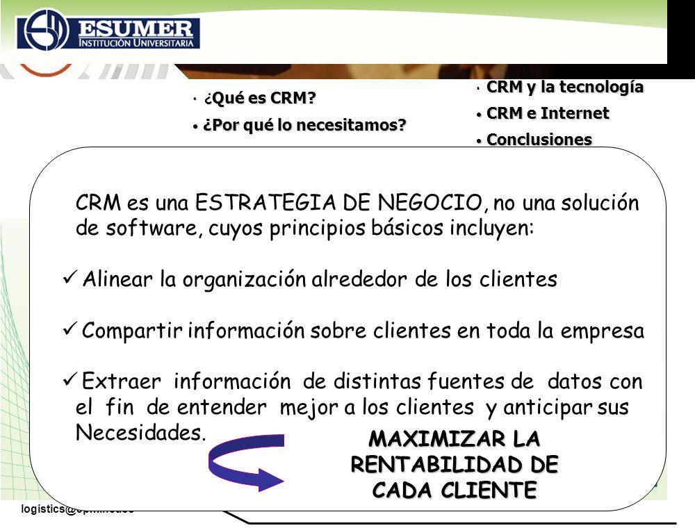 www.highlogistics.com logistics@epm.net.co CRM es una ESTRATEGIA DE NEGOCIO, no una solución de software, cuyos principios básicos incluyen: Alinear l