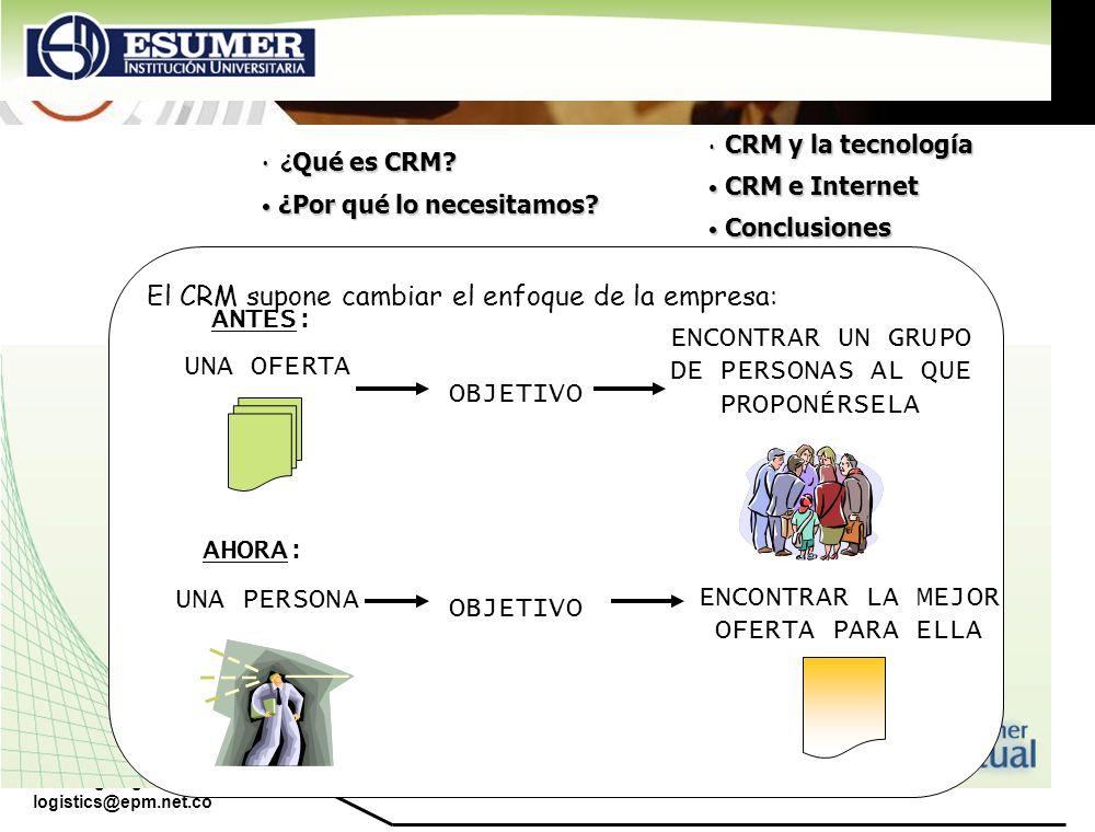 www.highlogistics.com logistics@epm.net.co El CRM supone cambiar el enfoque de la empresa: ANTES: ENCONTRAR UN GRUPO DE PERSONAS AL QUE PROPONÉRSELA U