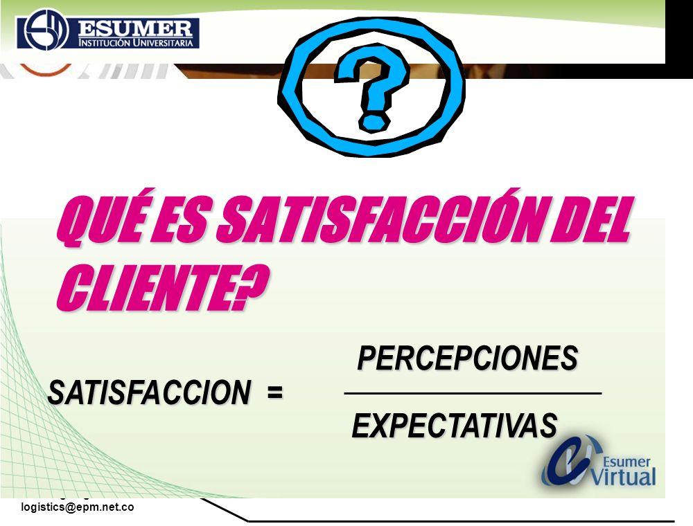 www.highlogistics.com logistics@epm.net.co QUÉ ES SATISFACCIÓN DEL CLIENTE? SATISFACCION = PERCEPCIONES EXPECTATIVAS