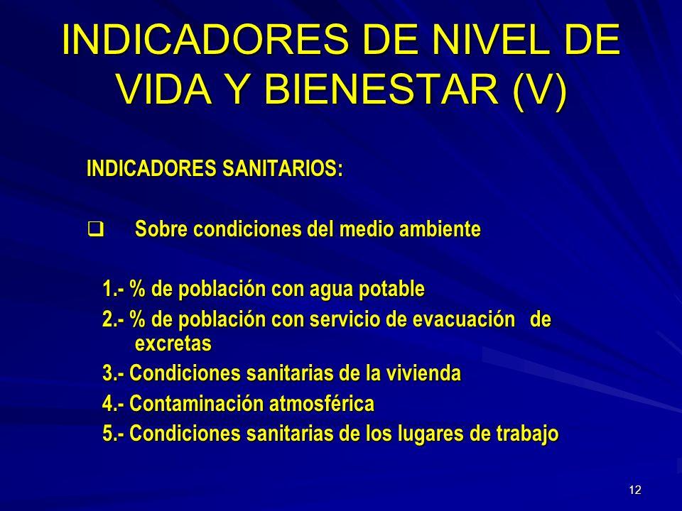 11 INDICADORES DE NIVEL DE VIDA Y BIENESTAR (lV) INDICADORES SANITARIOS: Acerca del estado de salud de personas o núcleos de Acerca del estado de salu