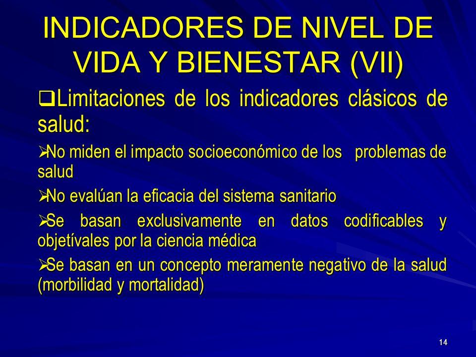 13 INDICADORES DE NIVEL DE VIDA Y BIENESTAR (VI) Indicadores Sanitarios: Sobre actividades y servicios sanitarios Sobre actividades y servicios sanita