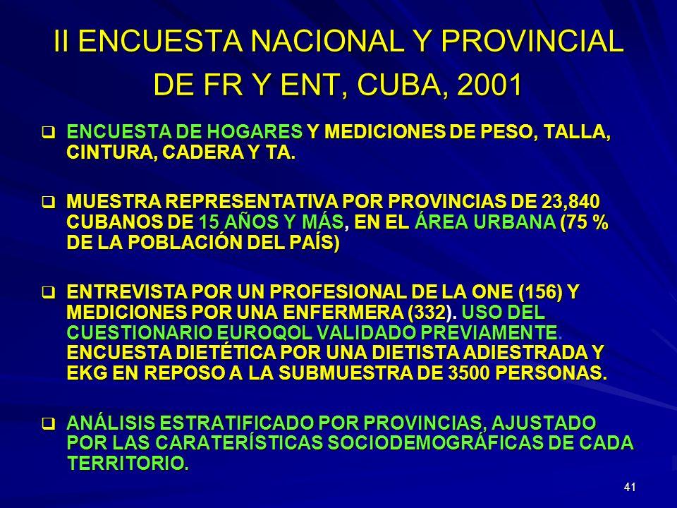 40 SALUD Y CALIDAD DE VIDA EN CUBA, 2001 INHEM-MINSAPONE-MEP INHA, ICCCV, INE,INNN DIRECCIONES PROV. Y MUNICIPALES