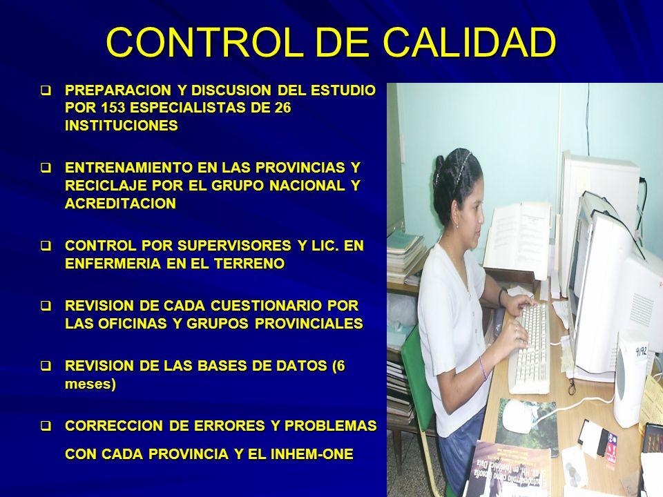 41 II ENCUESTA NACIONAL Y PROVINCIAL DE FR Y ENT, CUBA, 2001 ENCUESTA DE HOGARES Y MEDICIONES DE PESO, TALLA, CINTURA, CADERA Y TA. ENCUESTA DE HOGARE
