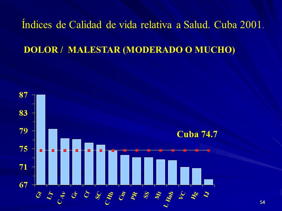 53 Índices de Calidad de Vida relativa a Salud. Cuba 2001. ACTIVIDADES COTIDIANAS (TRABAJAR, ESTUDIAR, HOGAR, RECREACION) Cuba 92.3