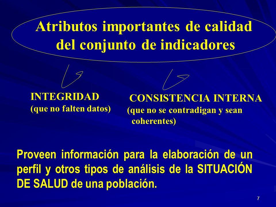6 La Selección de un Conjunto de Indicadores de Salud Disponibilidad de sistemas de información Fuentes de datos Necesidades de recursos y prioridades