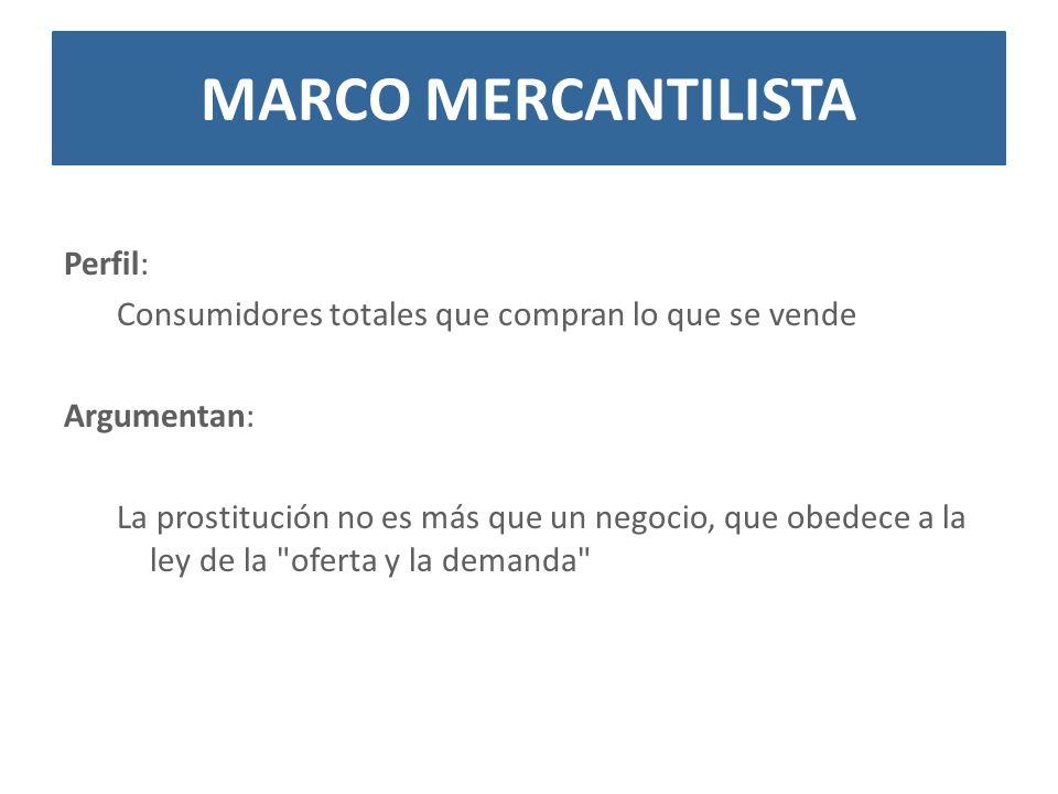 Perfil: Consumidores totales que compran lo que se vende Argumentan: La prostitución no es más que un negocio, que obedece a la ley de la