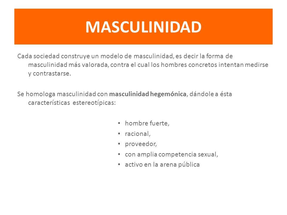 MASCULINIDAD Cada sociedad construye un modelo de masculinidad, es decir la forma de masculinidad más valorada, contra el cual los hombres concretos i